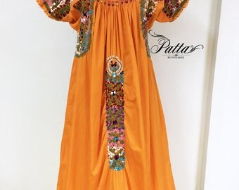 Vintage Mexican Oaxacan hand embroidered dress, embroidery orange ethnic boho hippie