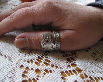 "Teddy Bear Ring,  Spoon Ring,  Silver Ring,  Antique Silver Plate Spoon, ""Teddy Bear"" by Nils Johann, Stamped Sweden"