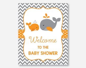 Instant Download, Whale Welcome Sign, Whale Party Sign, Whale Door Sign, Orange Whale Baby Shower, Little Squirt,Orange Gray Chevron(SBS.55)