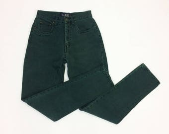 90s GREEN Skinny Jeans Tight Ankle Jeans Tapered Tight High Waist jeans Xs size 25 26 Slim Fit Colored Denim Dark Green extra Small