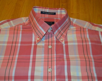 Gant (U.S.A.) Salmon, Peach, Pale Blue and Lemon Check Shirt Size Large