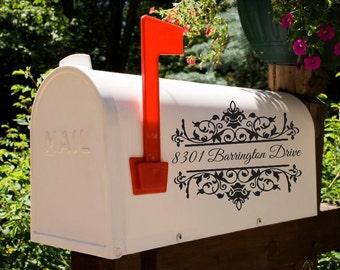 Damask Inspired Mailbox Decal