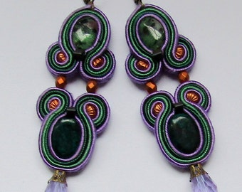 Soutache Earrings Violet - Green