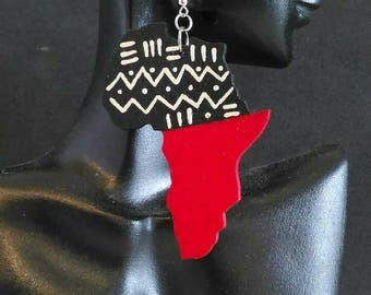 Mudcloth Pattern and Red Africa Shape Earrings MADE TO ORDER