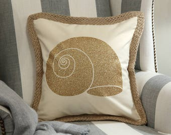 Sea Shell Decorative Pillow Cover, Beach House Pillow Cover, Beach Theme Pillow Cover,