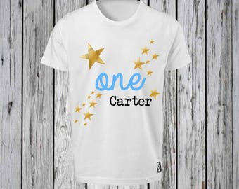 First Birthday Iron T shirt Design FILE ONLY! Gold Star and ONE 1st Birthday Tee shirt Design- Star One Birthday shirt-Gold Star Birthday
