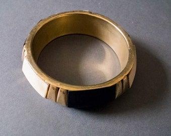 Vintage bohemian brass bracelet,  bangle, big statement jewelry,