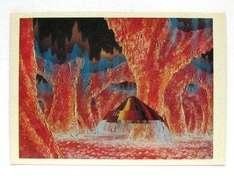 Space, In Labyrinth of Fire, Unused Postcard, Painting, Sokolov, Illustration, Unsigned, Rare Soviet Vintage Postcard, USSR, 1975, 1970s
