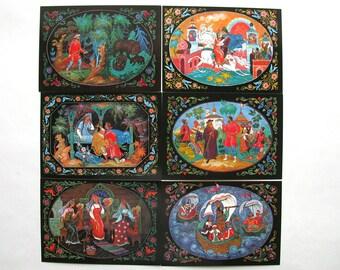 Pushkin, Postcard, Set, Soviet Postcards, Palekh, Art, Illustration, Print, Soviet Union Vintage Postcard, USSR, Unused Postcards, 1981