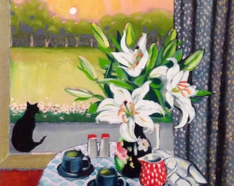 Moonrise with lillies and black cat