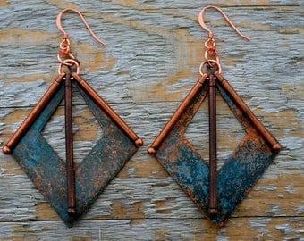 Copper Earrings - Statement Earrings - Patina Earrings - Geometric Earrings - Geometric Jewelry - Large Earrings - Dangle Earrings - Gypsy