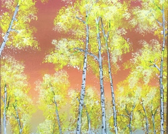 """Colorful original 9"""" X 12"""" acrylic tree painting on a canvas panel."""