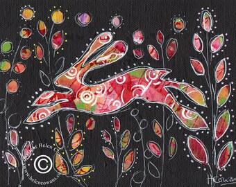 Bounding Hare #166 Original Painting