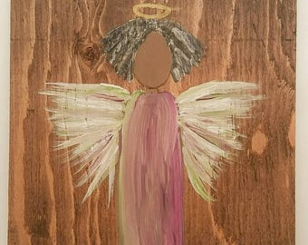 Earth Angel my Guardian Dear, hand painted Angels, Personalised Guardian Angel, child's room, Memorial, purple green ,curly brown black hair