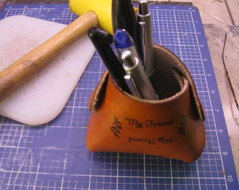 Handmade Leather Cup for pens, pencil and tools