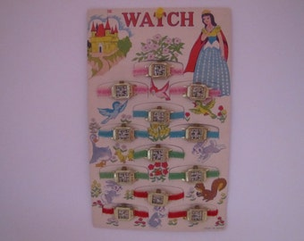 Vintage Novelty Dime Store Fairytale Watch Display 1960s