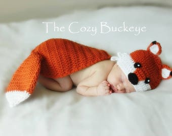 Instant Download Crochet Pattern - Fox Hat and Cape Set - Newborn Prop - Animal Character