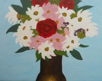 Floral Painting, Floral Acrylic, original acrylic painting, vase of flowers, roses, daisies, signed art