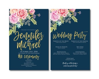Floral Wedding Programs, Order of Ceremony Programs, Wedding Ceremony Programs, Wedding Programs, Watercolor Wedding Programs #CL322