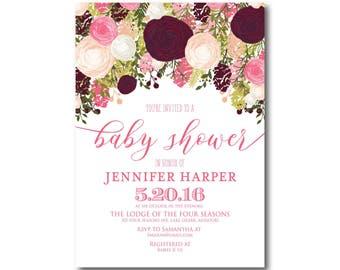 Floral Baby Shower Invitation, Boho Baby Shower Invitation, Girl Baby Shower Invitation, Watercolor Flower, Floral Baby Shower #CL113