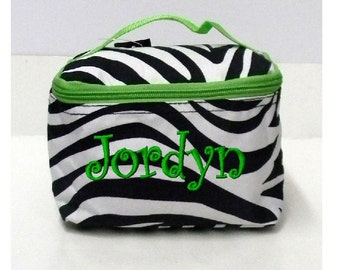 Monogrammed Zebra with Green Trim Cosmetic Bag - Personalized with Name or Initials