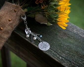 Personalized Memorial Bridal Bouquet Charm- Bridal Shower Gift- Something Blue Charm- Gift For Bride-Walk With Me Today And Always Memorial