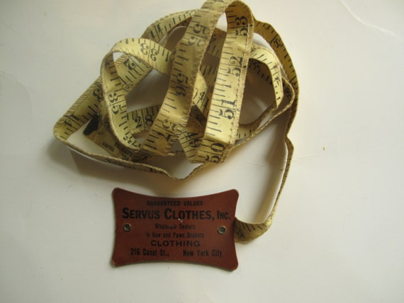 Vintage tape measure  NYC pre-WWII, tailor's tape measure, cloth 60 inches, good condition, vintage sewing supplies, vintage advertisements
