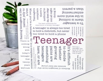 Teen Birthday Card; Teenager Birthday Card; Teenage Birthday Card; Teenager; Teen; Teenage; 16th Birthday Card; 18th Birthday Card; GC583