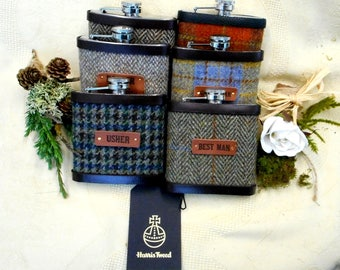 Barn or Rustic wedding gifts set of six Harris Tweed hip flasks with leather labels usher groomsman best man  father of the bride or groom