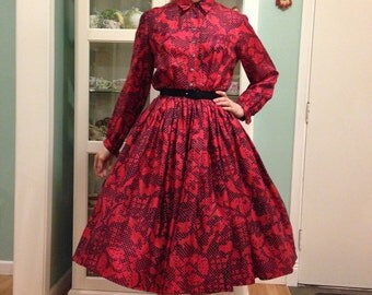 1950s Anne Fogarty silk dress s/xs