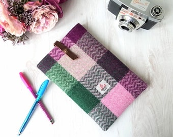 Harris Tweed tablet sleeve in pink, green and mulberry tweed with leather tab & cotton lining | iPad mini cover, tech cosy | Handmade in UK