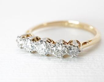 Antique Engagement Ring | Multi Stone | Five Diamond | Old European Cut | Mixed Metals | Vintage