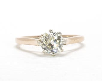 On Hold For Kyrra |  Please Do Not Purchase | Antique Engagement Ring | Rosy Gold | Cushion Cut Diamond | Old Mine Cut | 0.63 Carats | Europ