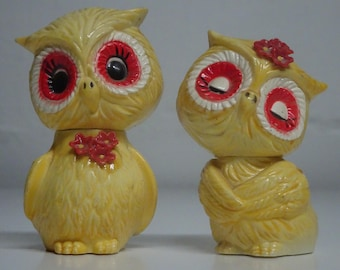 Vintage Owl Couple Salt and Pepper Shakers - FREE SHIPPING