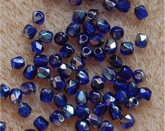 FIRE POLISH Beads, True 2mm, Cobalt Celsian, 230090/22501, sold in units of 150 beads.