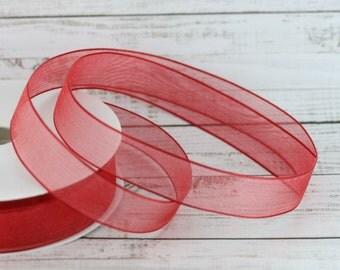 15mm Red Organza Ribbon