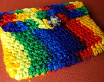 ready to ship, crochet wallet, rainbow wallet, gift for her, women accessories