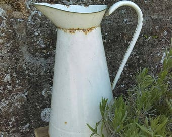 Antique French large enamel metal dairy or laundry jug
