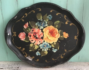 Vintage Tole Painted Metal Tray, Black Metal Tray With Hand Painted Floral Design, Shabby Chic Tray, Cottage Chic Decor, Boho Wall Decor