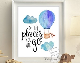 Nursery wall art hot air balloon adventure poster balloon quotes printable blue baby room decor  boy decoration digital balloon art 64-64