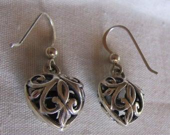 Puffed Filigree Sterling Silver Dangle Wire Earrings