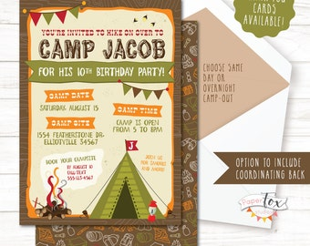 camping birthday invitation camping birthday party invitation camp out party camping party - Camping Party Invitations