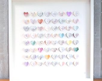 Guest book alternative. Guest book wedding. Pastel wedding colours. 64 hearts - MEDIUM SIZE. Wedding frame. Personalised wedding gift.