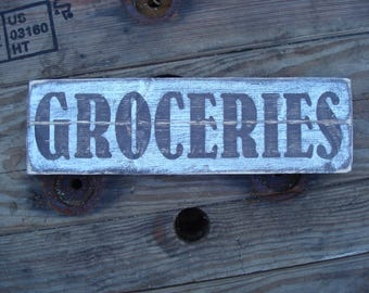 Small Groceries wood sign, Birthday gift for girlfriend. Farmhouse style rustic wood sign. Family values gift. Romantic anniversary gift.