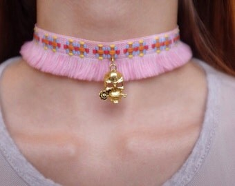 Mexican Day of the Dead Pink Choker