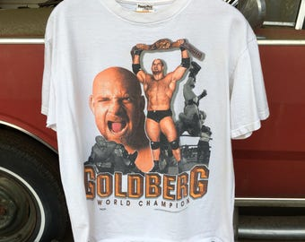 Goldberg WCW Wrestling Shirt - Vintage World Championship Wrestling White Shirt - Men's Small - 1990s Wrestling - Bill Goldberg WCW Champion