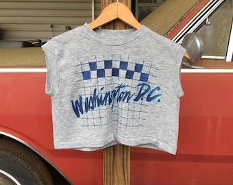Washington D.C. Crop Top - Vintage 1980s Croptop - Women's XSmall - Summer Beach Vacation Crop Top - Super Soft Heather Gray Shirt - Retro