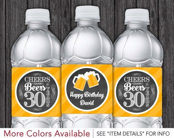 Cheers and Beers to 30 Years Water Bottle Labels • Printable 30th Birthday Party Decorations • Any Age • DIY Digital File