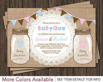 BaByQue Twins Baby Shower Invitation - BBQ, Baby Que, Baby-Q, Mason Jar, Burlap Lace