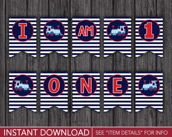 """Train High Chair Banner - """"I AM 1"""" Train Birthday Party Decorations - Printable Digital File - INSTANT DOWNLOAD"""